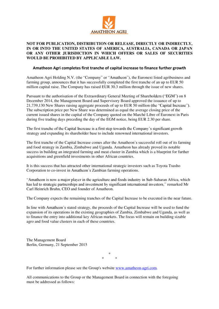 thumbnail of Press_Release_-_Announcement_of_First_Tranche_of_Capital_Increase_-_Sept_2015_draft